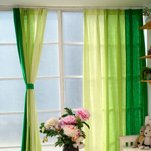 Gradient green cloth curtains semi shade Cotton Linen fabirc curtains for bedroom and living room custom