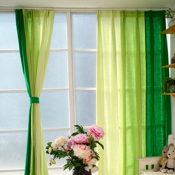 Gradient green cloth font b curtains b font semi shade Cotton Linen fabirc font b curtains