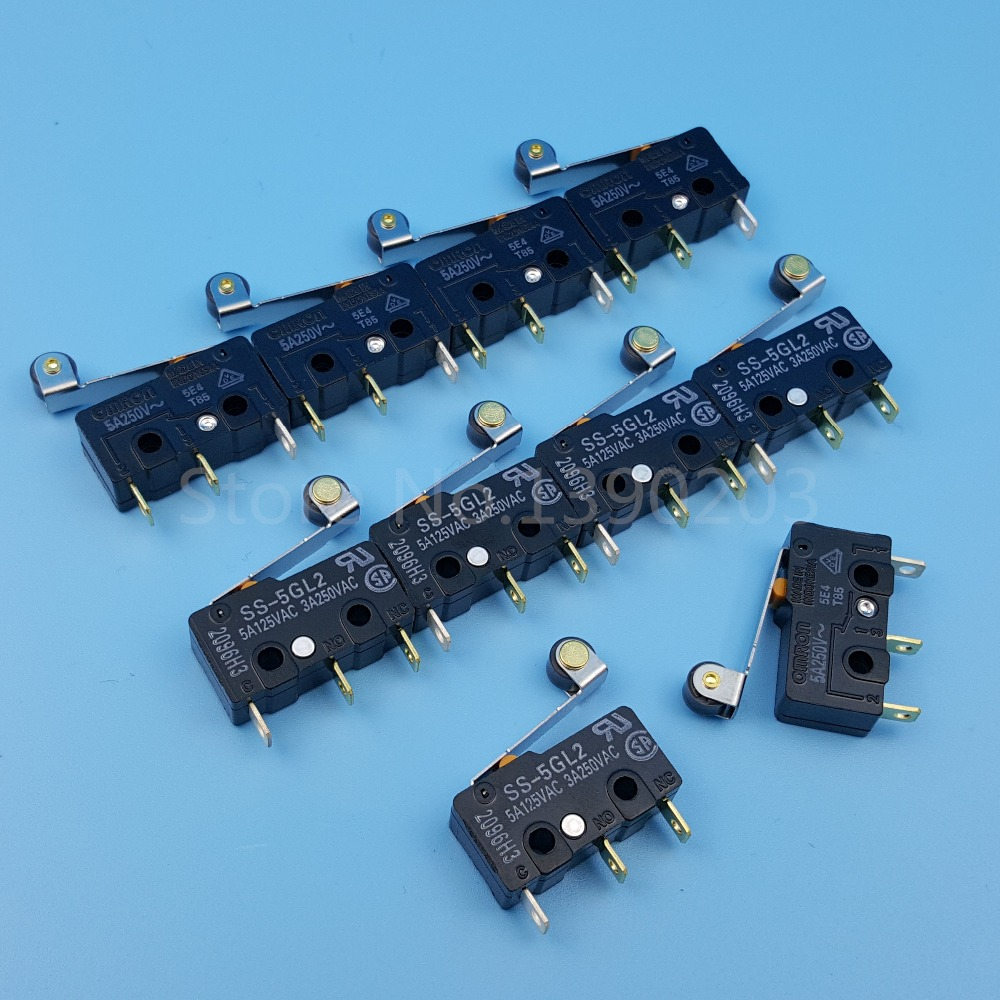 10Pcs OMRON SS-5GL2 Hinge Roller Lever SPDT 3Pin Subminiature Basic Limit Switch цена