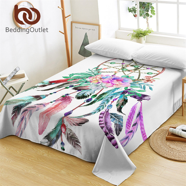 Beddingoutlet Dreamcatchers Bed Sheets One Piece Beautiful Feathers Flat Sheet Colorful Bedding Bohemian Bedspreads Sabanas