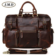 J.M.D Top Layer Genuine Leather Chocolate Handbags Type Travel Shoulder Bags Messenger Bags 7028C недорого
