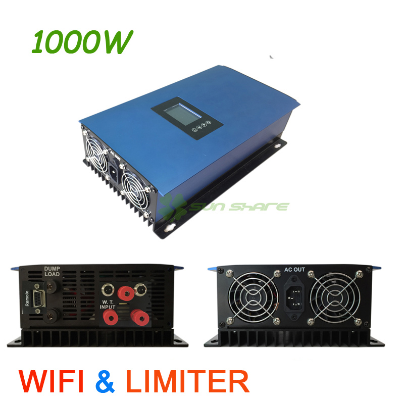 1000W MPPT Wind Grid Tie Inverter built-in Limiter+ dump load resistor ,input:AC 22-65V/45-90V,output AC110V/220v, with WIFI solar power on grid tie mini 300w inverter with mppt funciton dc 10 8 30v input to ac output no extra shipping fee