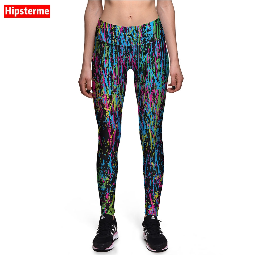 Hipsterme Jeggings Fitness Colorful Lines 3D Printed Work Out Leggings High Waist Push Up Pants For Women