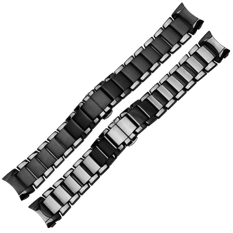 Груша керамические часы цепочка 22 мм 24 мм черный керамический ремешок глянцевый и матирующий браслет для AR1451 1452|Ремешки для часов|   | АлиЭкспресс