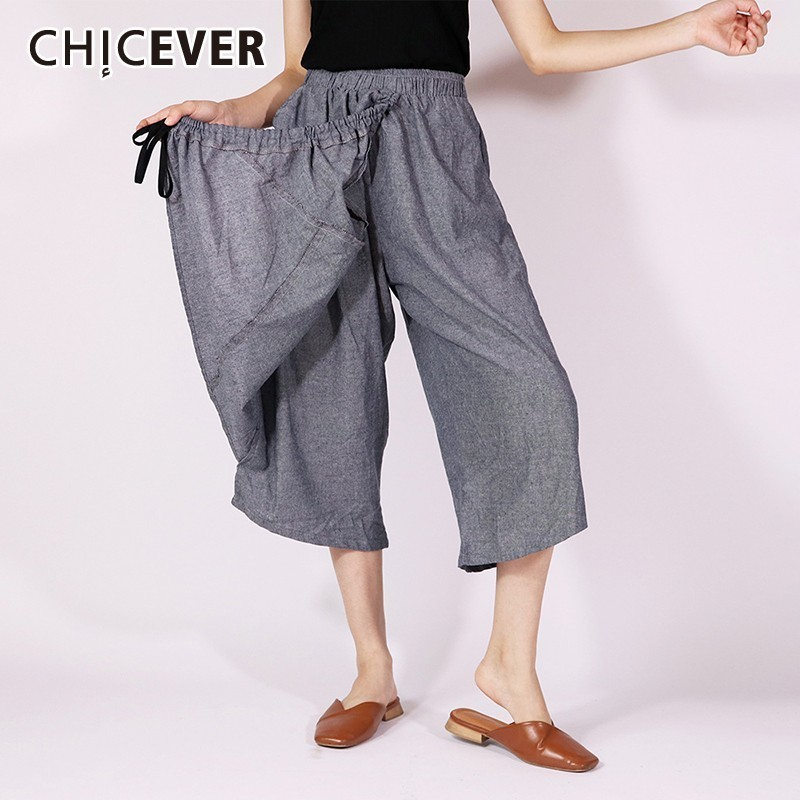 CHICEVER Summer Solid Patchwork Loose   Wide     Leg     Pants   Female Elastic Waist Calf-Length   Pant   For Women Fashion New 2019