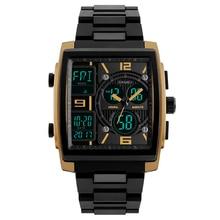 Цифровые военные часы мужские водостойкие двойной дисплей мужские наручные часы квадратные со светящейся сигнализацией Цифровые мужские спортивные часы и коробка
