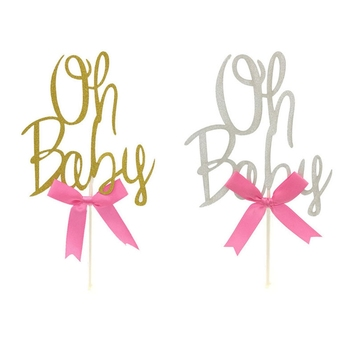 1Pcs Gold/Silver Glitter Oh Baby Cake Topper 1St Birthday Cake Toppers Kids Party Baby Shower Cake Decor Supplies image