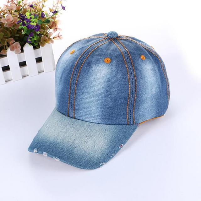 763505d124b67 Agujero Snapback Caps Denim béisbol Bling Rhinestone moda Jean sombreros  para hombres mujeres gorras Hip Hop