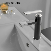 Fashion Bathroom Sink Basin Faucet Deck Mount Black Washing Basin Hot Cold Water Crane Mixers Faucet Sink Mixer Tap AL-6116 все цены