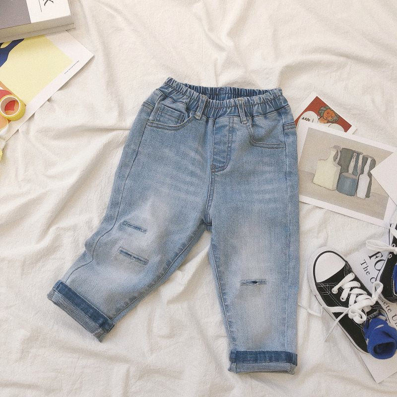 New 2019 Autumn Unisex Children Jeans Korean Style Kids Chic Trousers Hole Soft Baby Boys Girls Denim Casual Pants(China)