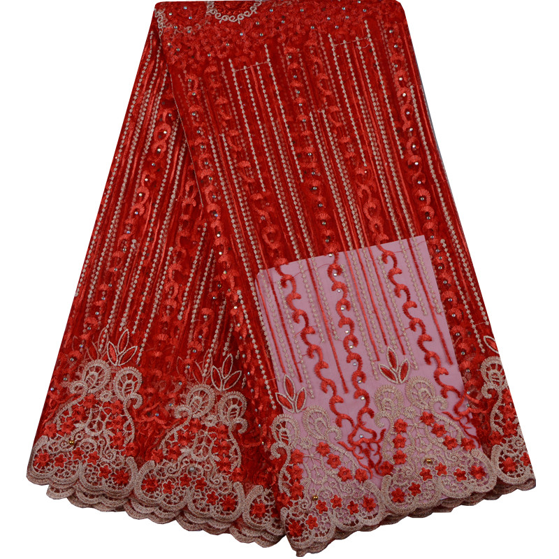 Women Fashion Clothes High Quality Wholesale Price Latest Net Dress Designs Tulle Lace Fabric Red Color