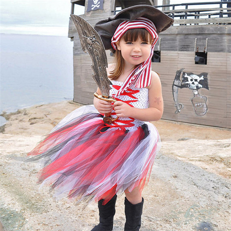 2-8Y Child Birthday Party Tutu Dress Costume Kids Cute Halloween Pirate Costumes Homemade for Toddler Girls