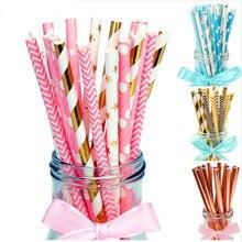 25Pcs/set disposable paper straw wedding paille anniversaire birthday party table decoration supplies