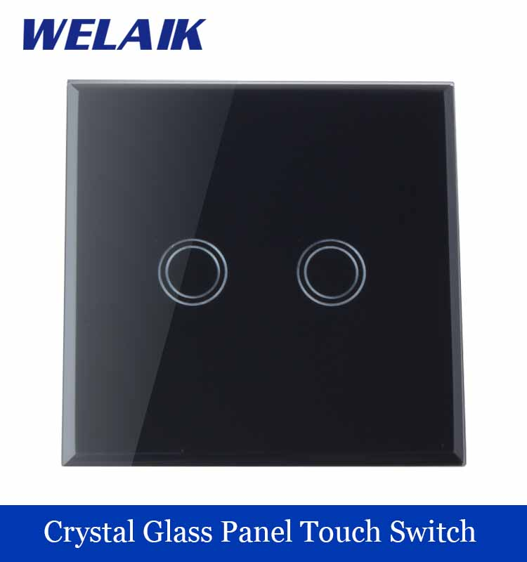 WELAIK Crystal Glass Panel Switch black Wall Switch EU Touch Switch Screen Wall Light Switch 2gang1way AC110~250V A1921XB smart home eu touch switch wireless remote control wall touch switch 3 gang 1 way white crystal glass panel waterproof power