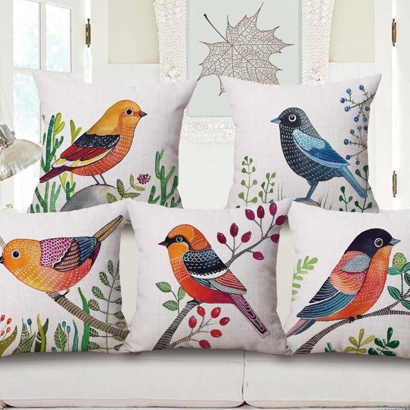 ᐃOriginal pájaros impreso vintage amortiguador casa bodega almohada ...