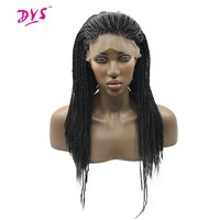 Deyngs Black Braid Straight Lace Front Wigs For Black Women Long Braiding Lace Hair Wigs Natural Synthetic Fiber Heat Resistant
