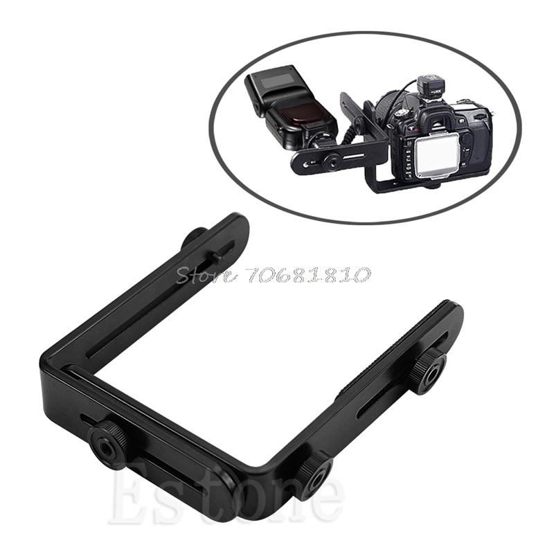 Metal L shaped Double Dual Bracket Holder Mount for Canon Camera Speedlite Flash R179 Drop Shipping