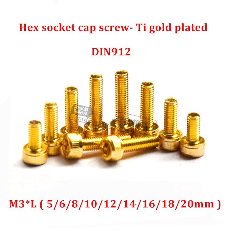 M3*6-35mm Titanium Plating Gold Allen Screw Cylindrical Cup Head Hexagonal Bolts