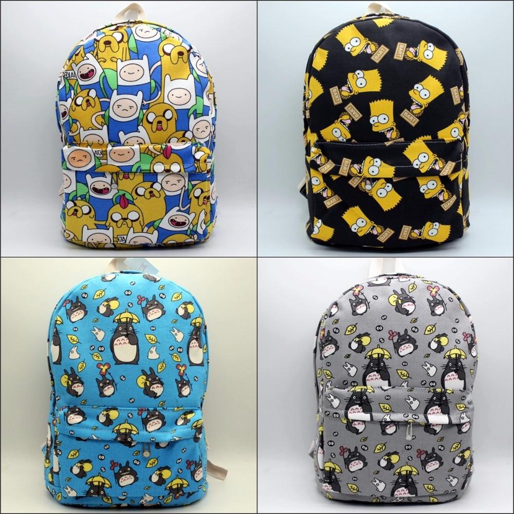 Cartoon My Neighbor Totoro Adventure Time Backpack Canvas Mochila Shoulder Rucksack Travel Bags Pikachu Schoolbag 5 style my first eng adventure starter tb