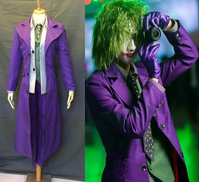 Batman Joker Costume Cosplay Man The Dark Knight Only Coat Shirt Pants Halloween Cosplay Purple Jacket Movie Hero Accessories