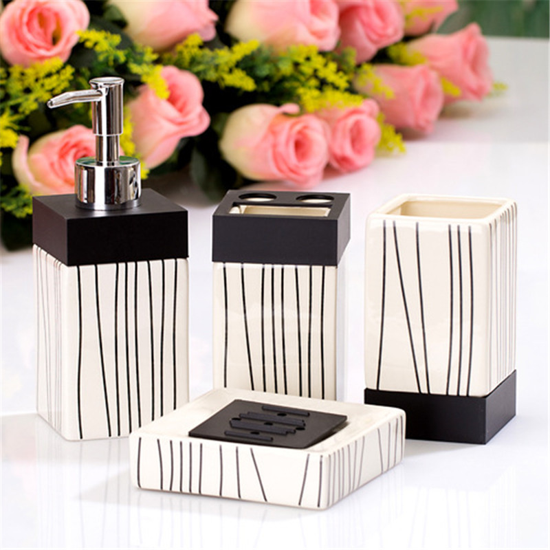New 4 piece set ceramic sanitary craft suit toothbrush holder bathroom soap dispenser bathroom accessories cleaning