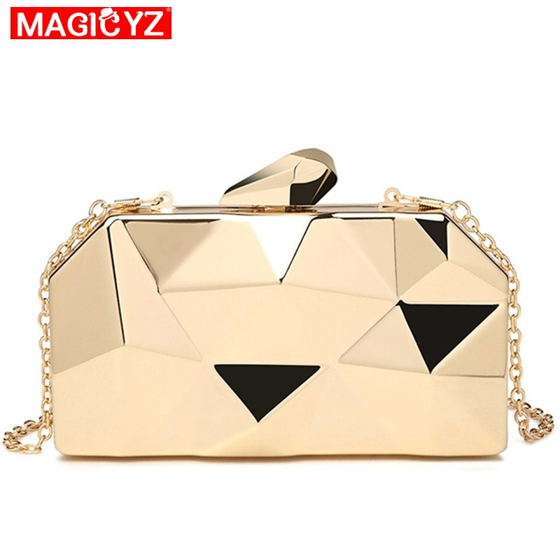 MAGICYZ Gold Acrylic Box Geometry Clutch Evening Bag Elegent Chain Women Handbag For Party Shoulder Bag For Wedding/Dating/Party(China)