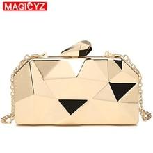 MAGICYZ الأكريليك الذهبي صندوق هندسي مخلب مساء حقيبة أنيقة سلسلة المرأة حقيبة يد للحزب حقيبة كتف لحفل الزفاف/التعارف/حفلة