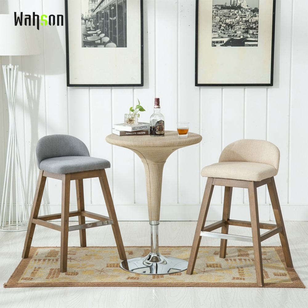 Fabric Counter Height Bar Stools Us 178 99 Wahson Counter Height Bar Stools Set Fabric Upholstered Modern Dining Distressed Indoor Outdoor Bar Stool Chair Set Of Two In Stools