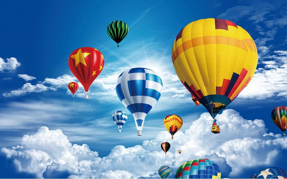 Customized 3d Photo Wallpaper Hot Air Balloon Landscape 3d