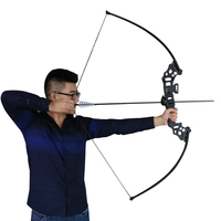 Toparchery 30lbs/40lbs Black/ Orange 51 Take Down Straight Bow Arch Outdoor Sports Hunting Shooting Target Bow and Arrows