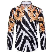 Long sleeve Mens Shirt Fashion Casual New Model Shirts Striped Blouse Vintage print Camisa social