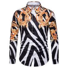 Long sleeve Mens Shirt Fashion Casual New Model Shirts Striped Blouse Mens Vintage print Camisa social frill trim vertical striped cherry print blouse