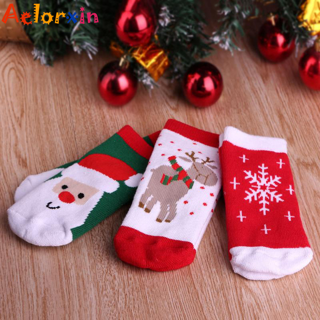 high quality cotton baby christmas socks red socks santa claus reindeer snowflake for kids xmas party