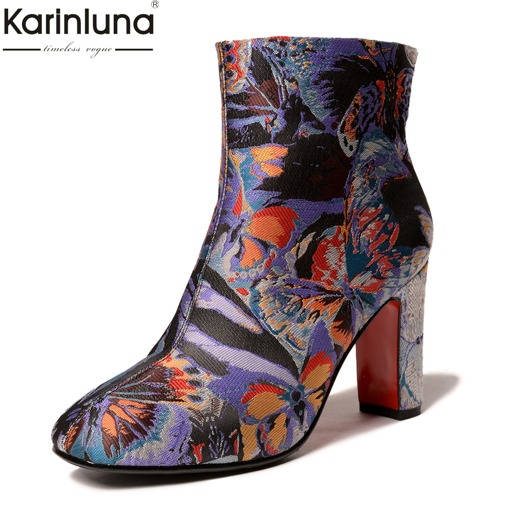 все цены на KarinLuna 2018 Top Quality Large Size 33-43 Fashion Embroidered High Heels Boots Woman Shoes Hot Sale Ankle Boots Shoes Woman