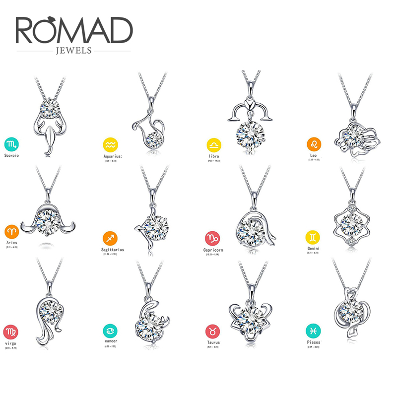 ROMAD Crystal 12 Constellation Necklace Pendant Chokers Chain Necklaces For Women Best Friends Pendant Gift Fashion Jewelry R4 in Pendants from Jewelry Accessories