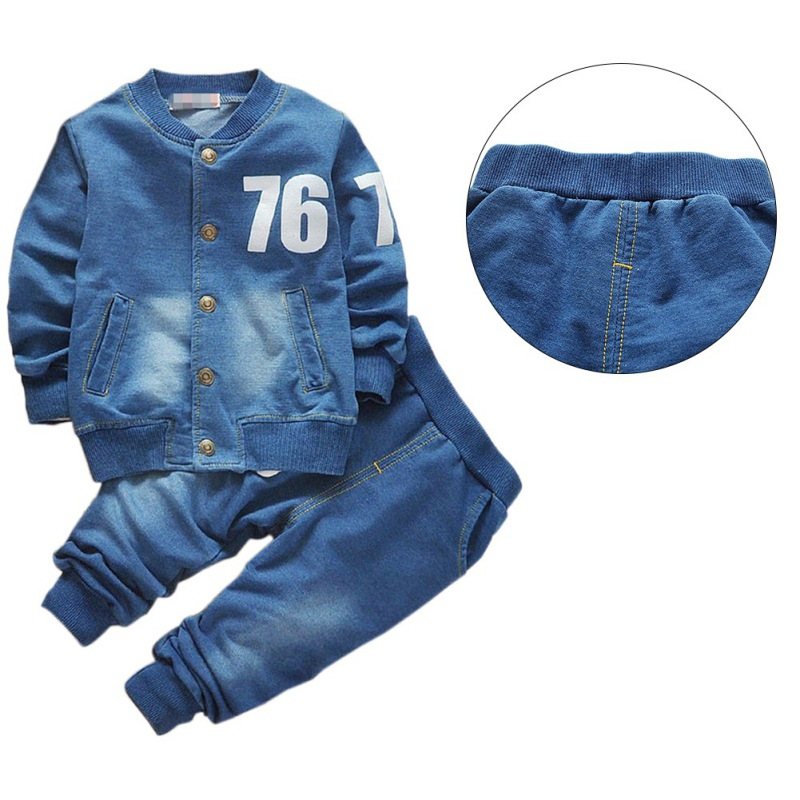 Baby Clothing Sets Cute Boys Girls Autumn Denim Suit Jeans Shirt Outfits Toddler Kids Casual Clothes For Children finejo baby girls kids blouse jeans pants casual clothes sets suit outfits