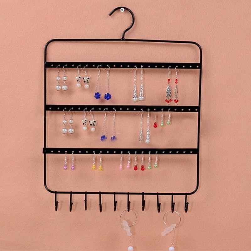 66 Holes 10 Hooks Wall Earring Jewelry Organizer Wall Earring Organizer Hanging Holder Necklace Display Stand Rack Holder
