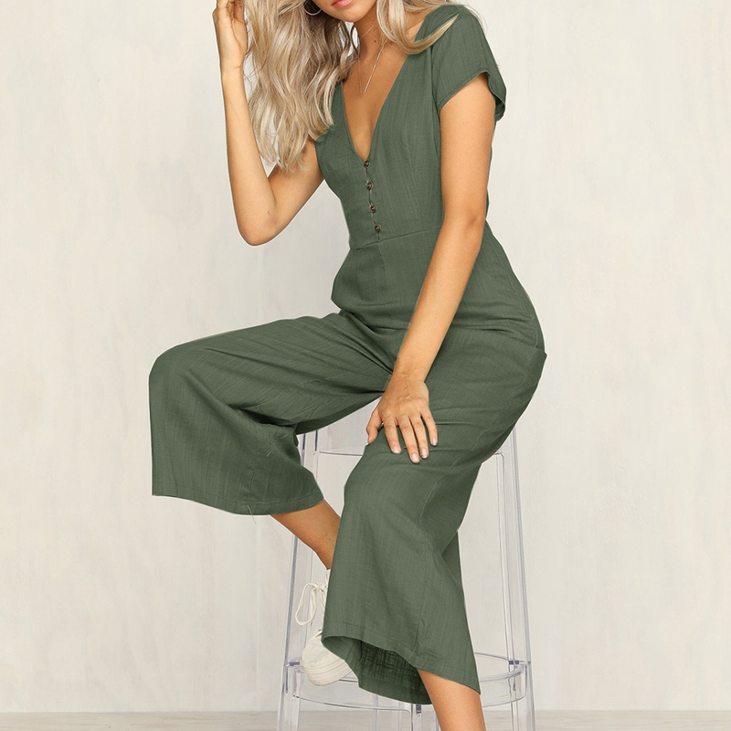 OEAK Summer Women   Jumpsuit   Sexy V-Neck Loose Playsuit Short Sleeve Overalls High Waist Ladies Romper Casual Wide Leg Pants