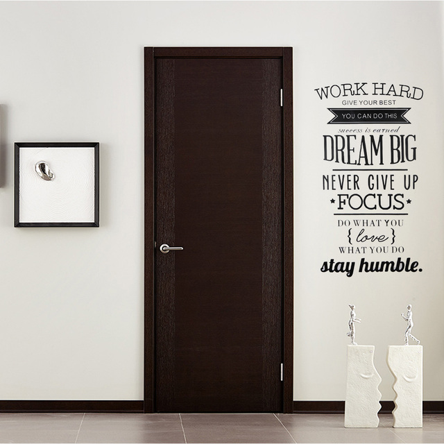 Work Hard Wall Stickers Art Decorative Home Background Letter Wall ...