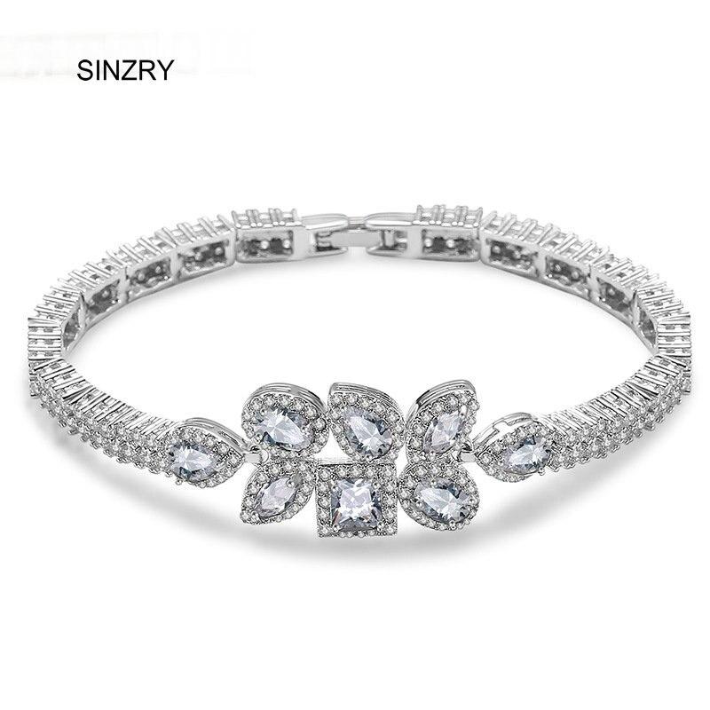 SINZRY Brand new clear white cut cubic zircon sparking women wedding luxury charm bracelets & bangle fashion jewlery accessory