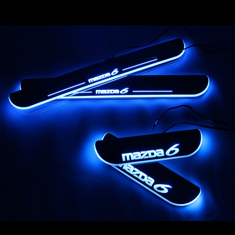 Hot sale! LED door sill for  6 2013 2014 2015 2016 M6 Led moving light door scuff plate welcome pedal light
