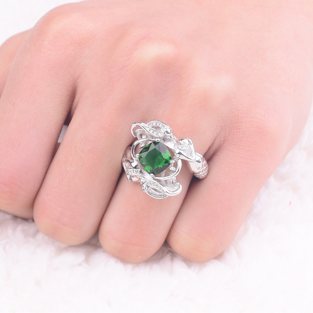 Promotion!!! Wedding Ring Jewelry Mermaid Ring Green Birthstone 925 ...