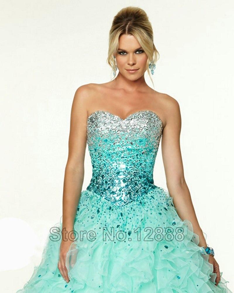 Aqua Color Prom Dresses Ruffle Organza Floor Length Special ...