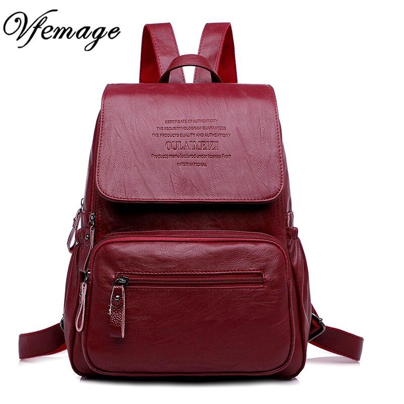 36ed9106e5b5 Vfemage Женский Рюкзак дизайнерский Высокое качество кожа женский рюкзак  школьные сумки рюкзак для девочек-подростков