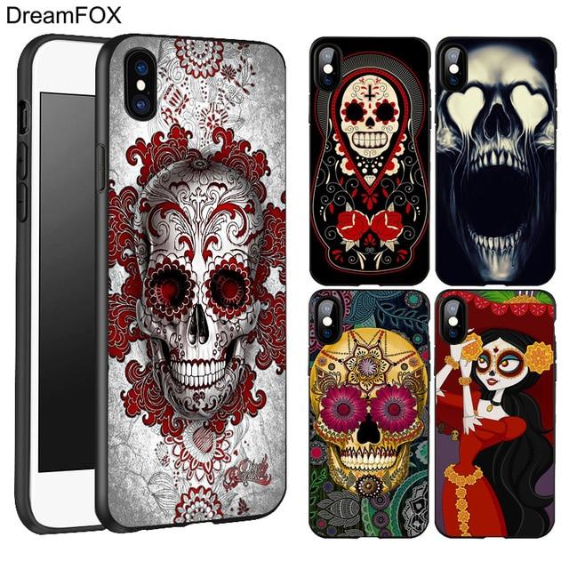 DREAMFOX L238 Skull Design Black Soft TPU Silicone Case Cover For Apple iPhone XR XS Max X 8 7 6 6S Plus 5 5S 5G SE