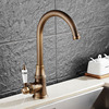 New Style Antique Brass Finish Faucet Kitchen Sink Basin Faucets Mixer Tap With Ceramic Hot And
