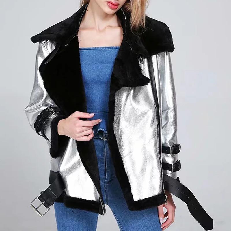 Thicken Silver Winter Fur   Leather   Jacket Outwear Women Warm   Suede   Motorcycle Coat Metallic Biker   Leather   Jacket Abrigo Mujer