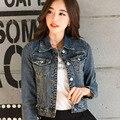 Nova chegada 2016 mulheres denim tops jacket primavera e no outono denim fino casaco fino denim vestuário feminino jaqueta curta LH113