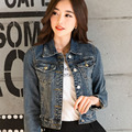 new arrival 2016 women denim jacket tops spring and autumn denim slim thin denim outerwear female short jacket coat  LH113