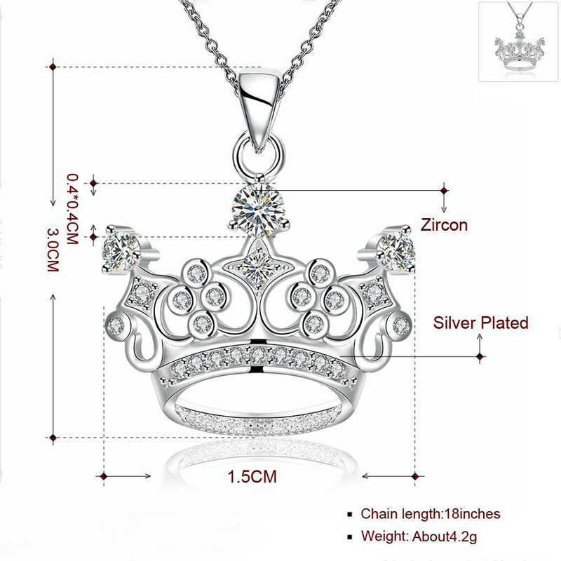 H: HYDE แฟชั่น Classic Crown จี้สร้อยคอ Elegant Cubic Zirconia เครื่องประดับสำหรับสตรีของขวัญวันเกิด Collier Coquillage